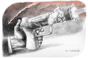 « دست خدا » نام طرح کاریکاتوری است از توکا نیستانی